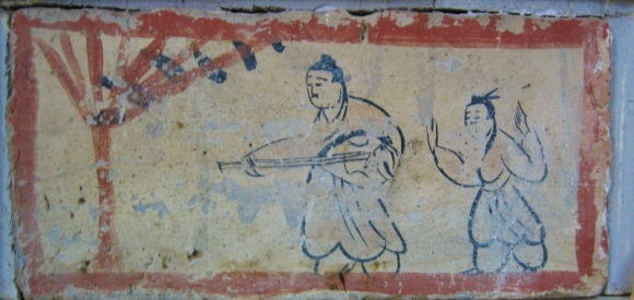 Brick painting in an ancient tomb.