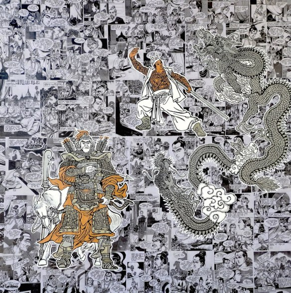 "Two Headed Flying Dragon 48"" by 48"" Burmese comic collage on canvas with Acrylics and metallic paints"